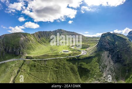 Aerial view of Grossglockner serpentine Taxenbacher Fusch high alpine road uphill in Austria