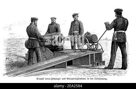 Prussian army soldiers mount a Krupp 24 cm. mortar gun for coast defense, the Franco-Prussian war (1870-1871)
