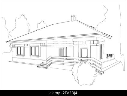 Architectural sketch of the house. Perspective view of the cottage. Black and white vector illustration.