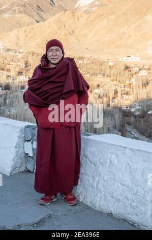 Shanti Stupa in Leh, Ladakh - Stock Photo