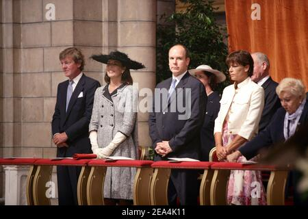 File photo : The princely family attending a solemn morning mass starting the daylong celebration of Prince Albert II's enthronement, at the cathedral of Monaco on July 12, 2005. Prince Albert II's reign 10th anniversary is being celebrated in the principality on July 11, 2015. Photo by Niviere/POOL/ABACAPRESS.COM.