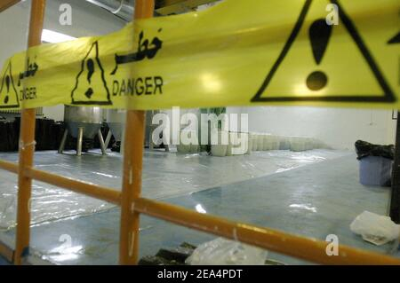 Inside view of the Uranium Conversion Facility (UCF) in Isfahan, Iran, on November 20, 2004. Iran said nuclear processing is set to resume at the Isfahan plant, the largest of its type in the country, on Wednesday. France, Britain and Germany have warned Iran of a major international crisis if the country goes ahead with its plans. Photo by ABACAPRESS.COM Stock Photo
