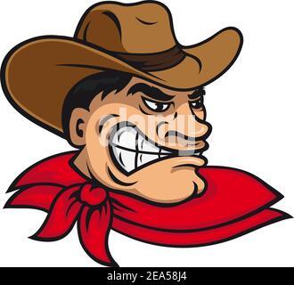 Cartoon cowboy in hat for mascot design