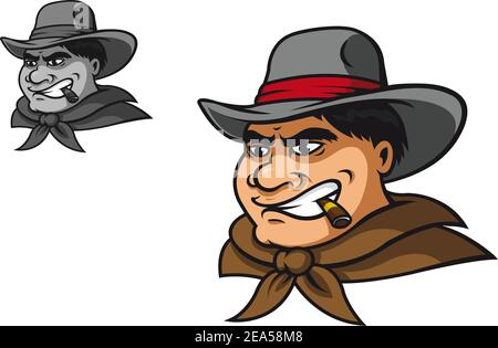 Western cowboy in cartoon style for mascot
