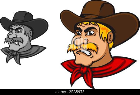 Angry western cowboy mascot in cartoon style