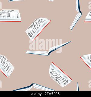 Seamless pattern with books. Back to school. Book colorful background. Flat illustration. Bookcrossing. Design for banner, flyer, textile, fabric - Stock Photo