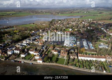 Aerial view of the yachts and old English Cottages at Bosham in Southern England.
