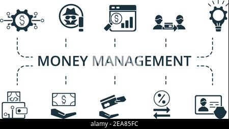Money Management icon set. Collection contain pack of pixel perfect creative icons. Money Management elements set. - Stock Photo