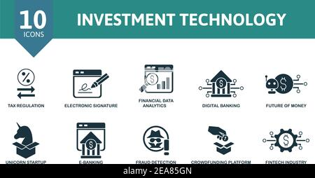 Investment Technology icon set. Collection contain online loan, tax regulation, financial data analytics, digital banking, future of money and over - Stock Photo