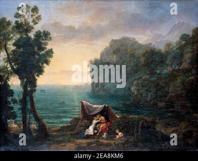 Claude Lorrain, Coastal landscape with Acis and Galatea, painting, 1657