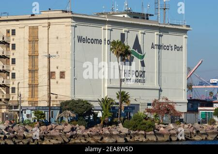 Port of Los Angeles, California, USA - February 7, 2021: this image shows a south view of historic Municipal Warehouse No. 1 (built in 1917). Stock Photo