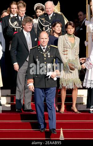 File photo : Prince Albert II of Monaco, Princess Stephanie, Prince Ernst August of Hanover and Princess Caroline leave Monaco's Cathedrale after the pontifical mass as part of Prince Albert II of Monaco's enthronement ceremonies on November 19, 2005. Prince Albert II is formally invested as ruler of Monaco. Prince Albert II's reign 10th anniversary is being celebrated in the principality on July 11, 2015. Photo by Orban-Nebinger/ABACAPRESS.COM