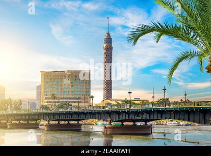 Nile and Cairo panorama in the evening. Egypt