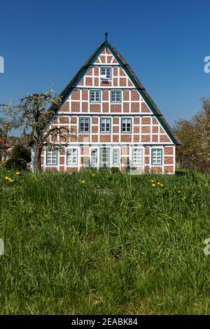Half-timbered house in Jork, Altes Land, Stade district, Lower Saxony, Stock Photo