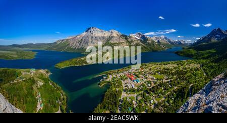 Canada, Alberta, Waterton Lakes National Park, Waterton Village, Middle Waterton Lake, Vimy Peak, Upper Waterton Lake, view from Bears Hump