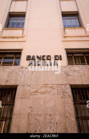 House, bank, facade, Palermo, Sicily, capital, big city, Italy - Stock Photo