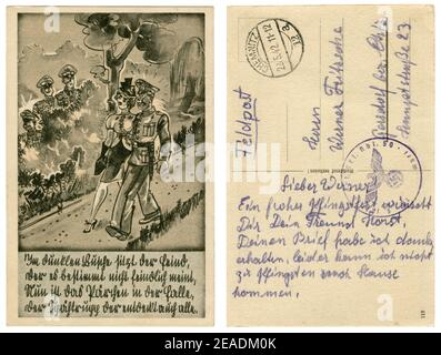 German historical postcard: German soldier in full dress uniform walking in the Park with a girl. Date and ambush in the bushes, satirical series 1939 - Stock Photo