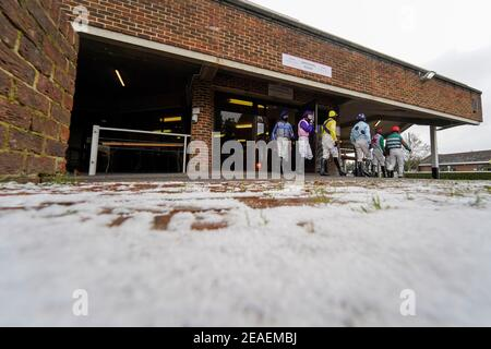 A general view as jockeys leave the weighing room at Kempton racecourse. Picture date: Tuesday February 9, 2021.