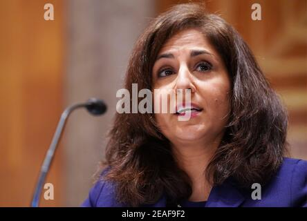 Washington DC, USA. 9th Feb 2021. Washington, United States Of America. 09th Feb, 2021. Neera Tanden testifies before the Senate Homeland Security and Government Affairs committee on her nomination to become the director of the Office of Management and Budget (OMB), during a hearing at the U.S. Capitol in Washington, DC on Tuesday, February 9, 2021.