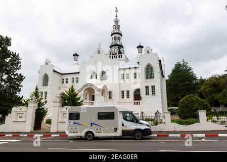 Motorhome outside Dutch Reformed Church, Swellendam, Western Cape, South Africa