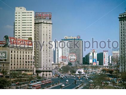 CBD buildings and advertising hoardings city centre of Sao Paulo, Brazil, South America 1962