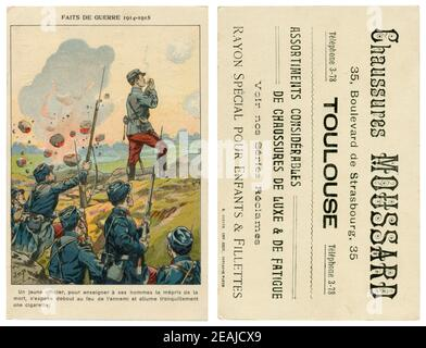 French historical advertising chromolithographic postcard: An officer despite the shelling by the enemy lights a cigarette, standing full-length, 1914