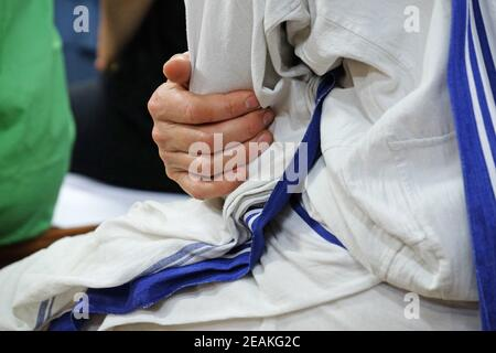 Hands of the Missionaries of Charity nun, Mother house in Kolkata, India