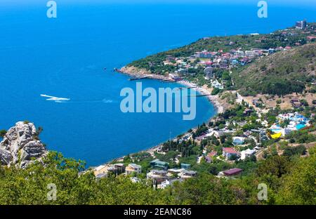Panoramic view from Mount Ai-Petri to the Black Sea - Stock Photo