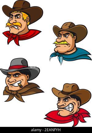 Cartoon western brutal cowboys characters for mascot, farming or comics design