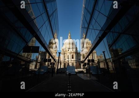 St Pauls Cathedral reflected in glass offices
