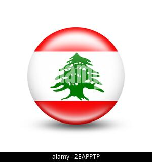 Lebanon country flag in sphere with white shadow