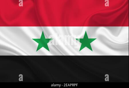 Syria country flag on wavy silk fabric background panorama - Stock Photo