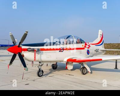 Croatian Pilatus PC-9 067 of Krila oluje Wings of storm aerobatic group 25 years of HRZ number marking - Stock Photo