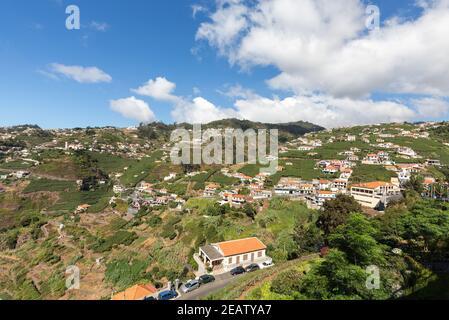 View over the vineyards of the Madeira Wine Company, Estreito de Camara de Lobos, Madeira, Portugal - Stock Photo