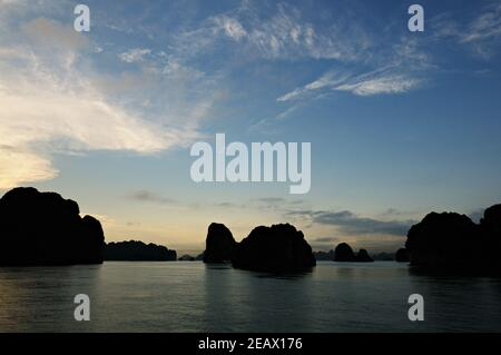 Sunset and blue sky in Bai Tu Long, Ha Long bay, Vietnam