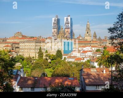 View of the Cathedral of Santiago de Compostela, the Raxoi Palace and the Convent of San Francisco  from the Alameda Park in 2014 -  Galicia, Spain - Stock Photo
