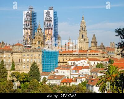 View of the Cathedral of Santiago de Compostela and the Raxoi Palace from the Alameda Park during the restorations in 2014 - Galicia, Spain - Stock Photo