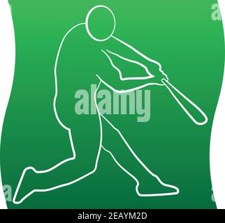 Icon of a set with Baseball player silhouette, vector illustration EPS 10 - Stock Photo