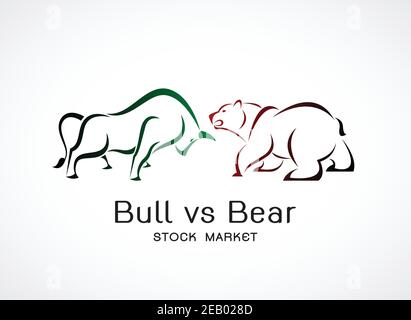 Vector of bull and bear symbols of stock market trends. Stock market and business concept. The growing and falling market. Wild Animals. - Stock Photo