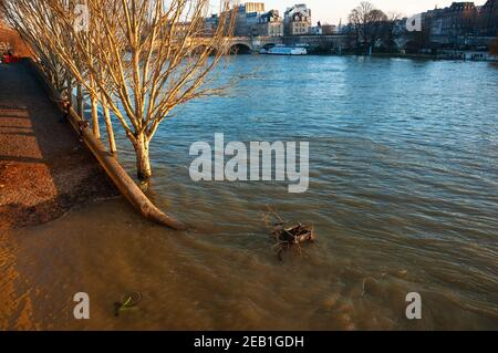 Flood in Paris (France). Flooded embankment, drown bicycle, unrecognizable man photographing the view; unrecognizable hugging couple. - Stock Photo