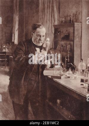 The Great French Chemist, Louis Pasteur, at work in his laboratory from the painting by Edelfelt.