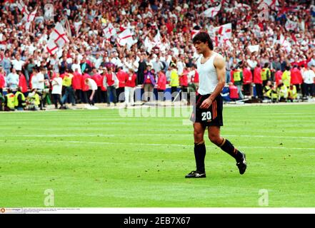 Football - 1996 European Championships - Euro 96 - Quarter Final - England v Spain - Wembley Stadium - 22/6/96  Miguel Angel Nadal is dejected after his penalty miss sent Spain out  Mandatory Credit: Action Images  FILM