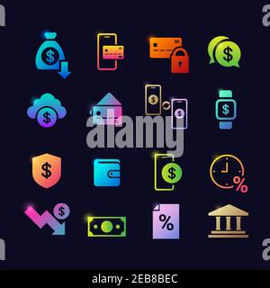 set different financial banking symbols glowing neon icons collection flat vector illustration