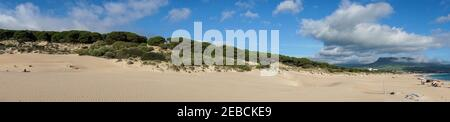 A panorama landscape of Bolonia Beach and sand dune on the Costa de la Luz in Andalusia Stock Photo