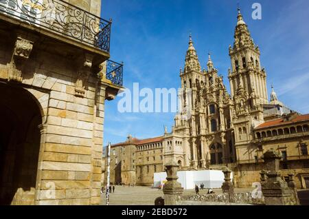 Santiago de Compostela, A Coruña province, Galicia, Spain - February 12th, 2020 : Baroque facade of the cathedral in the Obradoiro square. The Cathedr - Stock Photo