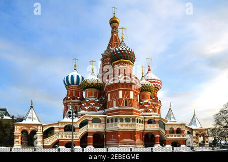 Cathedral of Vasily Blessed (Saint Basil's Cathedral) 1555-1561, in winter sunny day Stock Photo