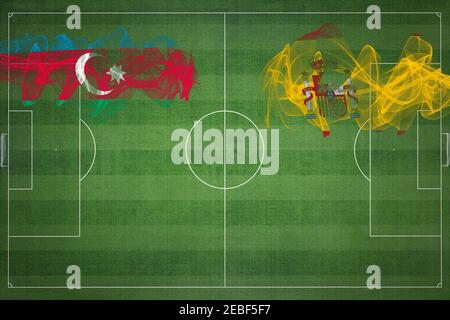 Azerbaijan vs Spain Soccer Match, national colors, national flags, soccer field, football game, Competition concept, Copy space