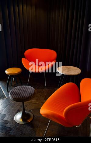 chairs and stools in a waiting room