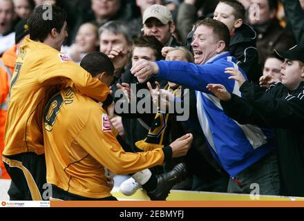 Football - Wolverhampton Wanderers v West Bromwich Albion Coca-Cola Football League Championship - Molineux - 11/3/07  Jay Bothroyd celebrates with the fans after scoring the first goal for Wolverhampton   Mandatory Credit: Action Images / Michael Regan  Livepic - Stock Photo