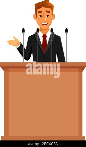 Cartoon businessman or politician in suit at tribune with microphones making a speech. Orator or narrator, spokesman or leader at debates or presentat - Stock Photo